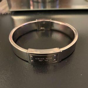 Michael Kors Silver Tone Hinge Bangle Bracelet